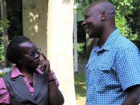 Nelson Okanya talks with Rebecca Osiro